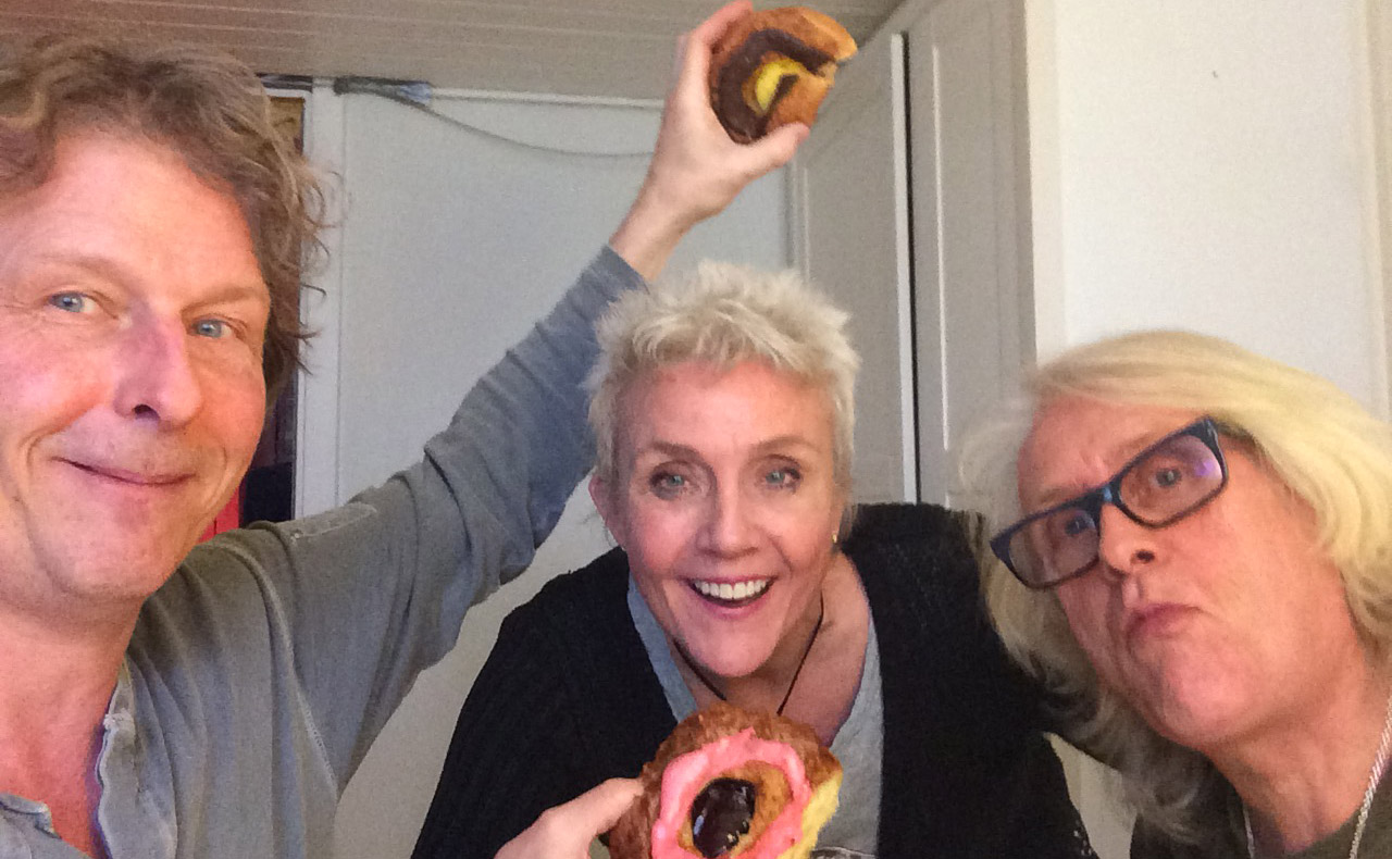 Enjoying danish pastry during recording Home. Søren Skov, me and Helge Solberg (bass)