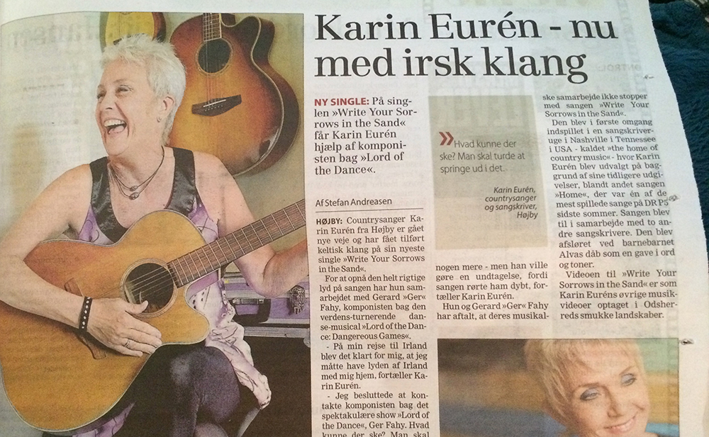 Article in Nordvest nyt - Karin Eurén - now with an irish sound - Ger Fahy on Uillean pipes